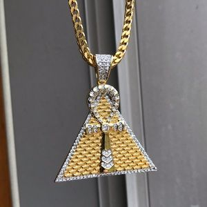 ONLY ONE 18k Iced Out Ankh Pyramid Pendant